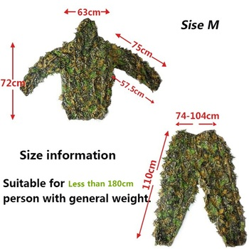 Men Women Kids Outdoor Ghillie Suit Camouflage Clothes Jungle Suit CS Training Leaves Clothing Hunting Suit Pants Hooded Jacket 5