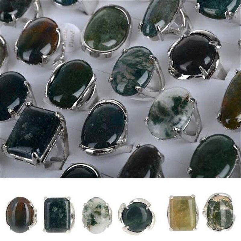 PINKSEE оптовые партии 5 шт. Тибетский большой натуральный камень в ассортименте кольца Размер 7-11
