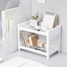 Doppel Schicht Hohl Regal Kunststoff Desktop Bad Lagerung Rack Weiß Kosmetische Veranstalter Regal 2 Tier Regal Halter für Home