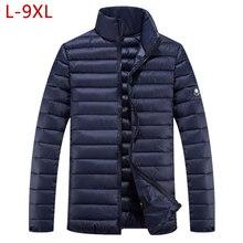 Plusขนาด9XLสั้นอบอุ่นหนาOutwear Softshellฤดูหนาวชายเสื้อชายเสื้อUltralightลงParkasเสื้อกันหนาว5XL 6XL 7XL 8XL