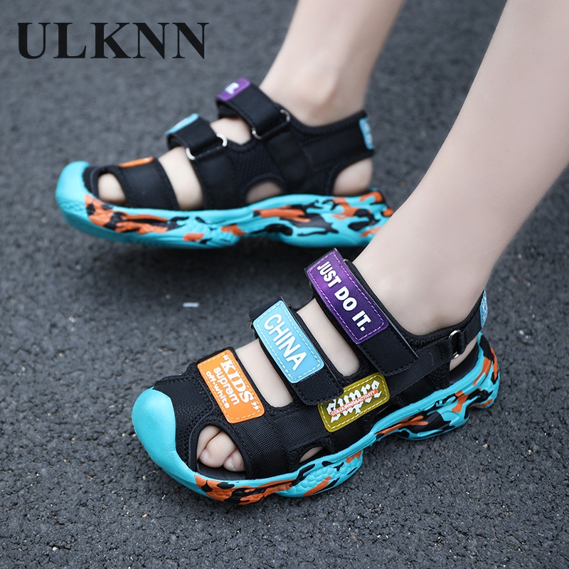 ULKNN Kids Shoes Toe Toddler  Sandals Boys Sandals Breathable Sport Pu Leather Baby Boys Sandals Shoes Summer