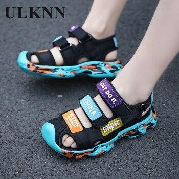 цена ULKNN kids shoes toe toddler  sandals boys sandals breathable sport pu leather baby boys sandals shoes summer онлайн в 2017 году