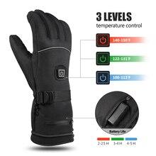 Зимние лыжные перчатки с электрическим подогревом, теплые перчатки, 3 уровня температуры, контроль рук, теплые перчатки для катания на лыжах, велоспорта, верховой езды, без батареи