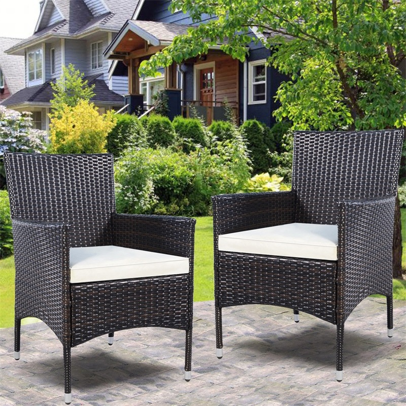 Set of 2 Rattan Patio Cushioned Chairs Outdoor Garden Yard Furniture Strong Iron and PE Rattan Coffee Chairs