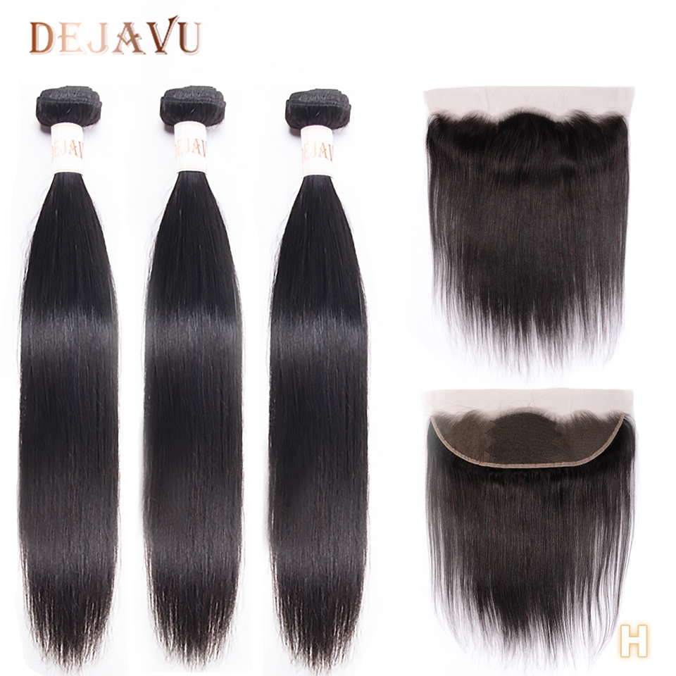 Dejavu  Hair Free Return 13*4 Frontal With 3 Bundles Indian Straight 100% Human Hair Bundles With Frontal Non-Remy