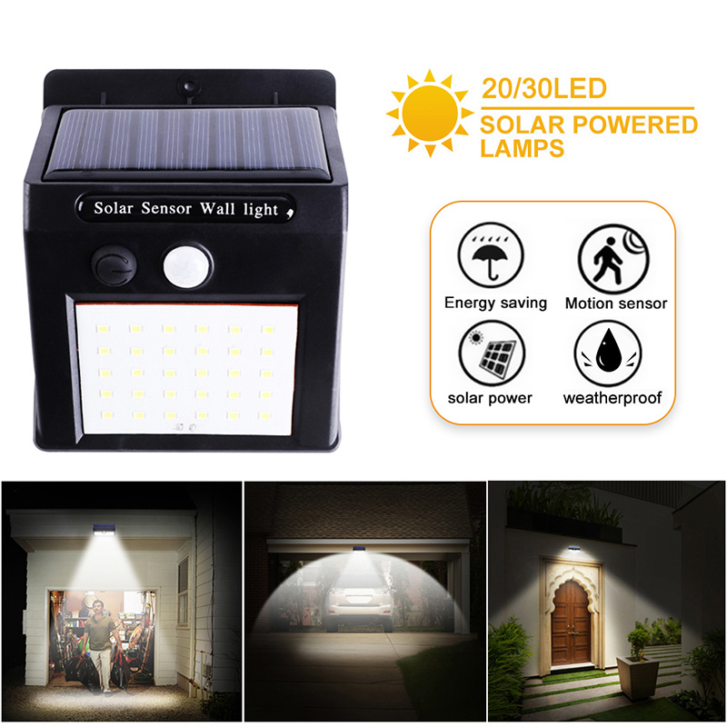 20/30 LED Solar Power Lights PIR Motion Sensor Solar Garden Lamp Outdoor Waterproof Energy Saving Wall Yard Lighting