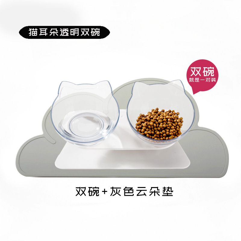 [] Cat Bowl Dog Bowl Cat Double Bowl Anti-Slip Pet Cat Basin Cat Food Holder Rice Basin Protection Neck