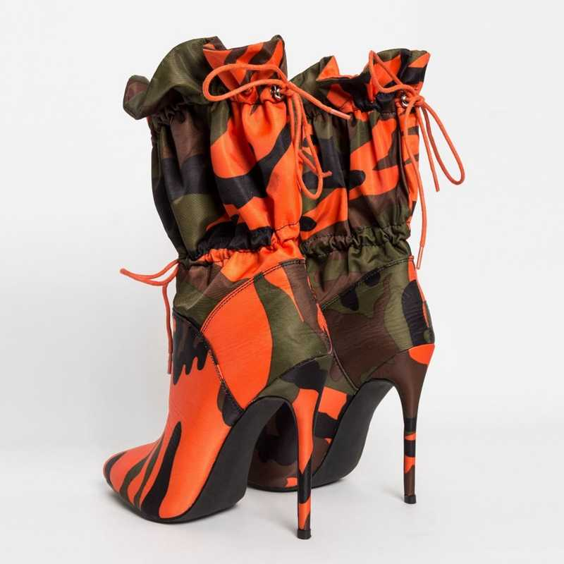 2019 Mùa Xuân/Mùa Thu Mới Giày Cao Gót 11 Cm Gót Nhọn Thời Trang Ngụy Trang Mắt Cá Chân Giày Boots Nữ Phối Ren Gợi Cảm câu Lạc Bộ Giày Sang Trọng