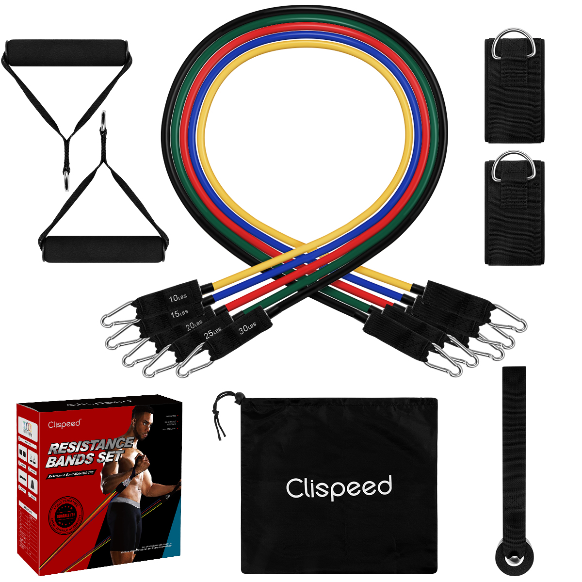 Clispeed 11PCS Fitness Exercises Resistance Bands Set Durable Fitness Pull Rope Workout Bands For Men Women With Bag