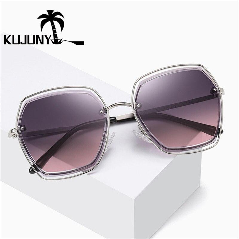 KUJUNY Men Women Sun Glasses Polarized Metal Sunglasses TAC Lenses Eyewears Hollow Outdoor Sunglasses Oculos De Sol Feminino