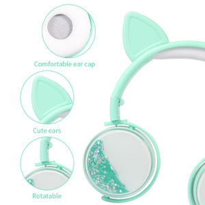 Image 4 - New Cat Ear Wired Headphones Hourglass Glitter Style Women Girl Music Gaming Headset For Mobile Phone Computer PC 3.5mm Jack