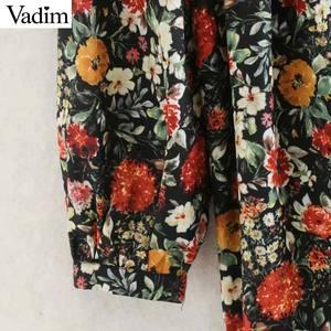 Image 4 - Vadim women vintage floral pattern print midi dress V neck long sleeve female fashion casual straight dresses vestidos QD106