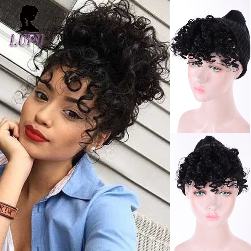 LUPU Black Female Clip In Fringe Bangs Natural Fake Hair Extension Black Synthetic High Temperture Fiber Hairpieces