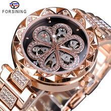 Forsining, женские часы, Лидирующий бренд, Роскошные, с бриллиантами, вечерние, модные, водонепроницаемые, механические, автоматические, из нержавеющей стали, женские часы