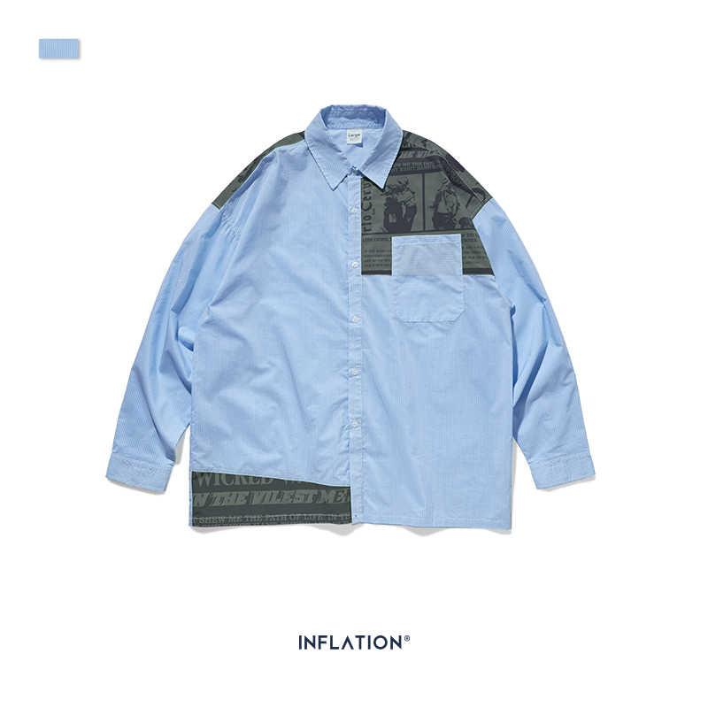 Inflacji projekt ponadgabarytowych Fit Retro koszula w paski dla mężczyzn luźne pasują wielu Stripe czarny łączone mężczyźni koszula Streetwear mężczyźni koszula