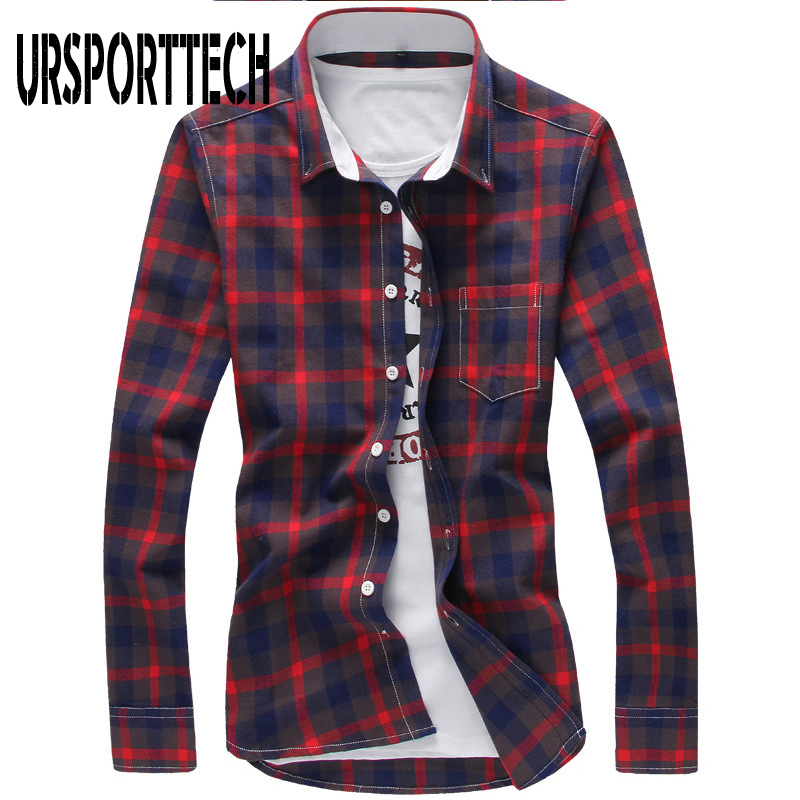 2020 Men's Plaid Cotton Shirts Long Sleeve Casual Button Down Slim Fit Outfit Soft Comfortable Casual Shirt