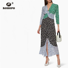 ROHOPO Three Quarter Sleeve High Waist Patchwork Ruffled Leopard Dress Elegant Polk Dot Ladies Autumn Chiffon Midi Vestido #7379