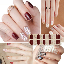 NEW STICKERS 22 Tips Beauty Nails DIY Adhesive Decal Nail Stickers Sliders Decoration Nails Art Accessories for Women Salon manicure wall decal girls beauty salon wall stickers vinyl nails salon interior removable art mural hand spa home decor syy802