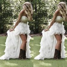 Пикантные пляжные свадебные платья hi low в стиле кантри сердечко