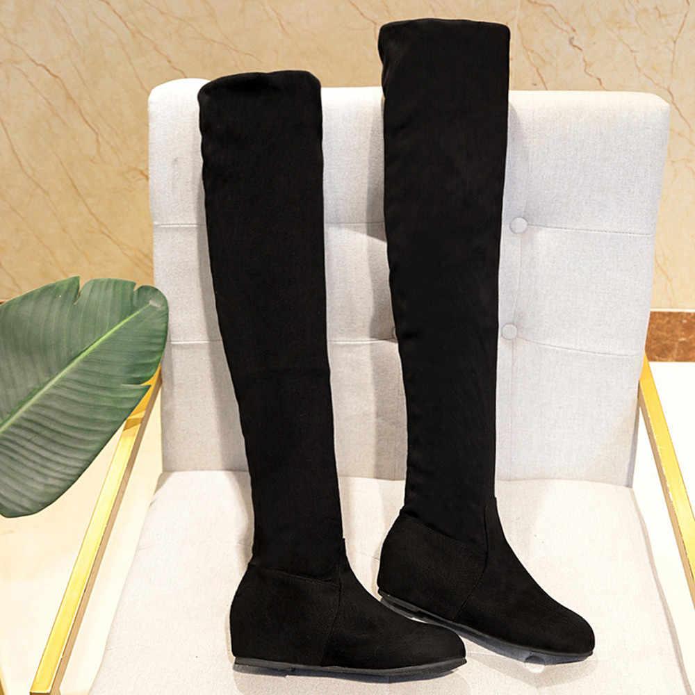 Süet Slip-On yuvarlak ayak uyluk yüksek çizmeler kadın siyah over-the-diz düz ayakkabı kış çizmeler kadın 2019 Zapatos De Mujer