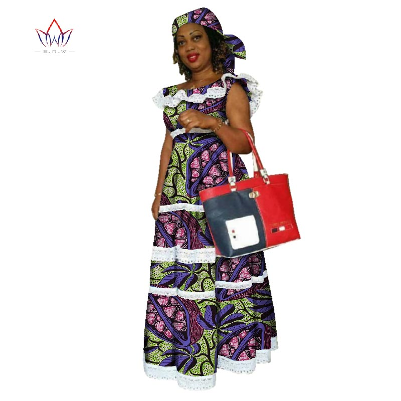 2020 African Mermaid Dresses For Women African Embroidery Bazin Dress Dashiki Cotton Women O-neck Lace Clothing Natural WY2320