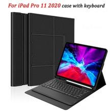 IPad Pro 2020 11 12.9 키보드 케이스 연필 홀더 태블릿 블루투스 키보드 가죽 커버 iPad Pro 11 2020 키보드