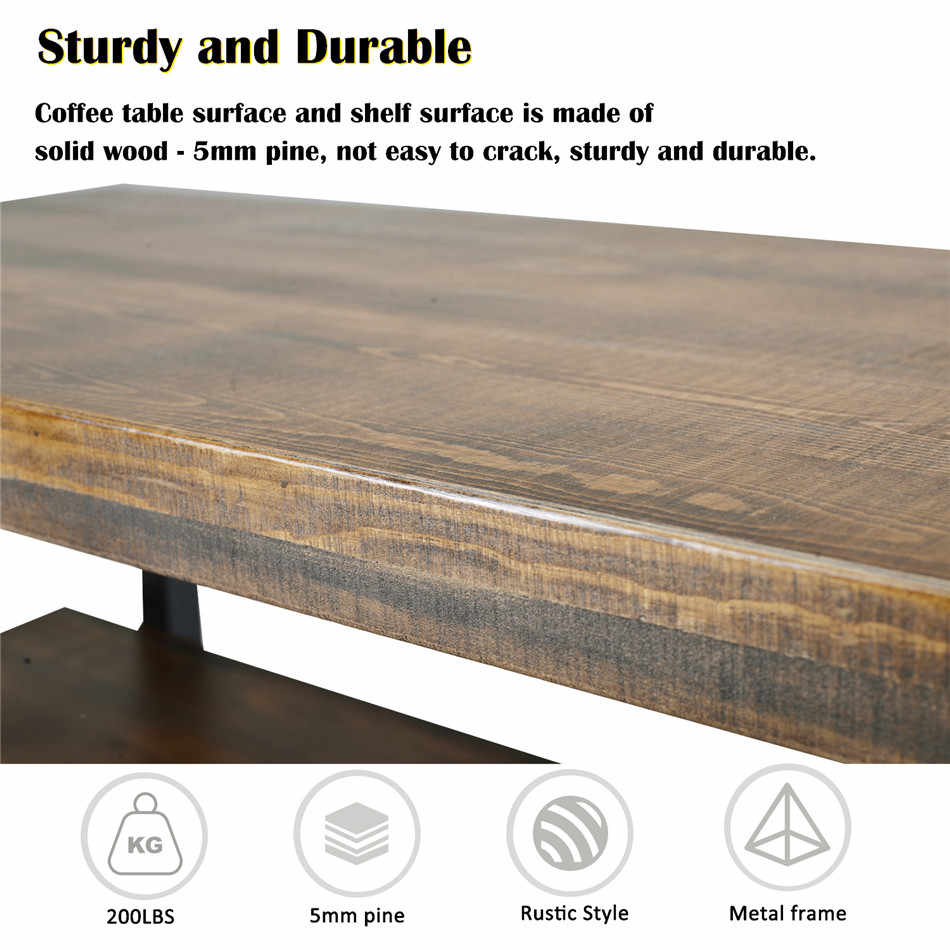 The Horizontal with Shelf Distressed  Pine Wood with Nail Heads Coffee Table