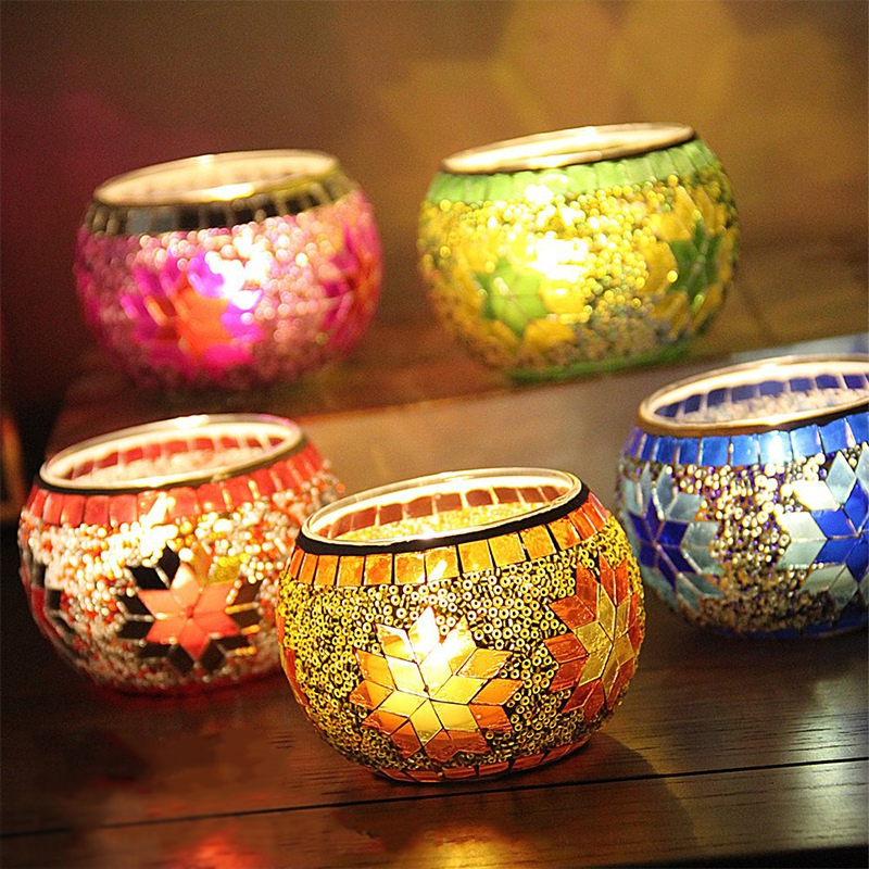 4pcs/set Mosaic Glass Aromatherapy Candle Set Smokeless Fragrance Aromatherapy Candle Plant Essential Oil Natural Soy Wax Candle