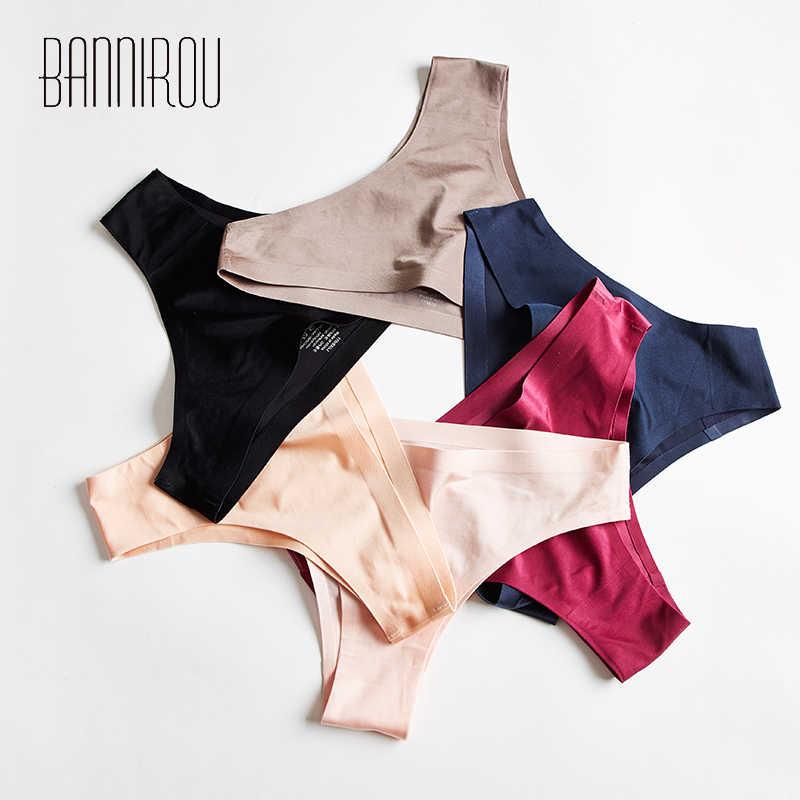 1 Pcs ผู้หญิงชุดชั้นในผ้าไหมน้ำแข็งกางเกงกีฬาเซ็กซี่หญิง T-กลับนุ่ม G-String ทองสำหรับผู้หญิงใหม่กางเกง BANNIROU