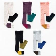 1 zu 6 Jahre Frühling Sommer Koreanischen Stil kinder Mode Hosen Unregelmäßigen Nähten Gestrickte Mädchen Leggings Baumwolle Kinder Legging