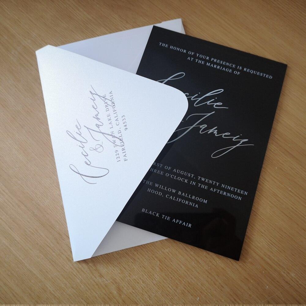 luxury design popular china wedding black acrylic card white printing words matching big flap white envelope