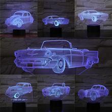 Vintage coche Convertible 3D lámpara Multicolor bombilla USB Luz De noche decoración del hogar niños cumpleaños Regalos novedad Sensor táctil Mesa Lampar