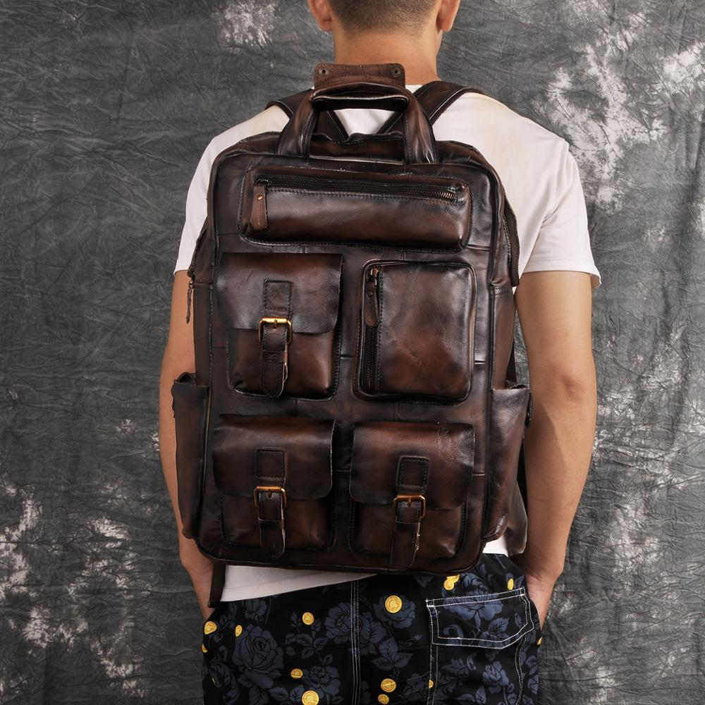 Quality Leather Fashion Travel College School Bag Design Male Heavy Duty Large Backpack Daypack Student Laptop Bag Men 1170-dc image