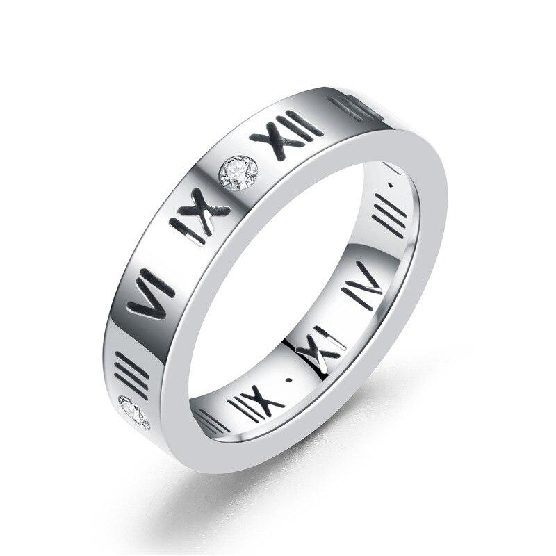 Розовое золото, кольцо из нержавеющей стали с кристаллом для женщин, ювелирные кольца для мужчин, обручальные кольца для женщин, подарки для помолвки - Цвет основного камня: silver