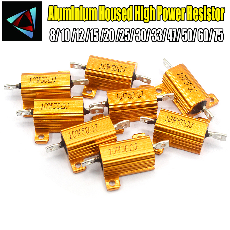 2PCS RX24 10W Aluminium Housed High Power <font><b>Resistor</b></font> Metal Shell Heatsink 8 10 12 15 20 25 30 33 47 50 <font><b>60</b></font> 75 <font><b>ohm</b></font> Multiple Resista image