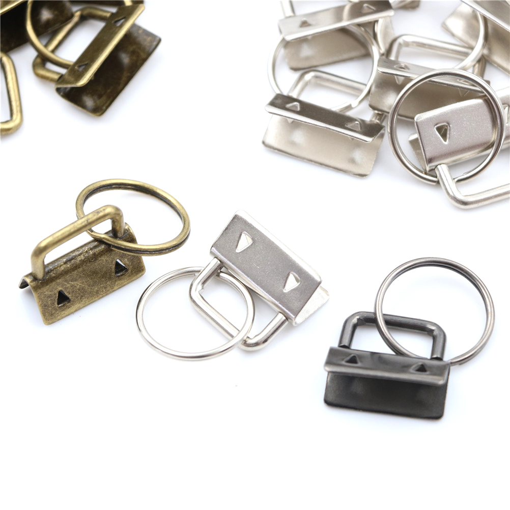 10Pcs/LOT Key Fob Hardware 25mm Keychain Split Ring For Wrist Wristlets Cotton Tail Clip 3Colors Bag Accessories