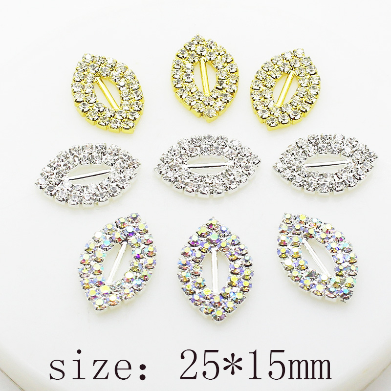 10pcs/lot 25mm*15mm Silver Rhinestone Buckles Diamond Buttons For Wedding Invitation Card Ribbon Silder DIY Bow Decoration