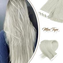 """Neitsi mini fita em extensões adesivas do cabelo humano não remy reta invisível trama da pele cabelo natural 12 """"16"""" 20 """"cor loira"""