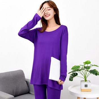 7XL Plus SIze Modal Women High elasticity pijama Suit Long Sleeve Sleepwear Nightwear Loose Thin Home Wear 2PCS Nightgown - discount item  45% OFF Women's Sleep & Lounge