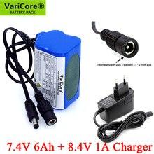 VariCore-luces de bicicleta con batería de li-lon, paquete de batería especial DC 7,4x6000 MM + cargador 1A, protección de 8,4 V, 18650 mAh, 5,5 V, 2,1