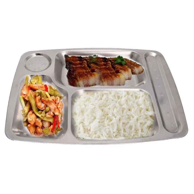 Unterteilt Edelstahl Kinder Snack Tablett Lebensmittel Ernährung Teil Mittagessen Box Platte