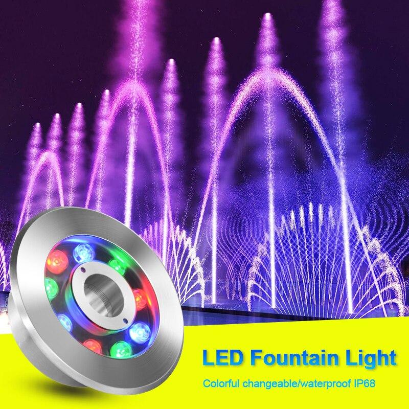 Светодиодный фонтан из нержавеющей стали, подводный свет, водонепроницаемый IP68, водостойкий, погружной, для бассейна, для сада, отеля, Свето...