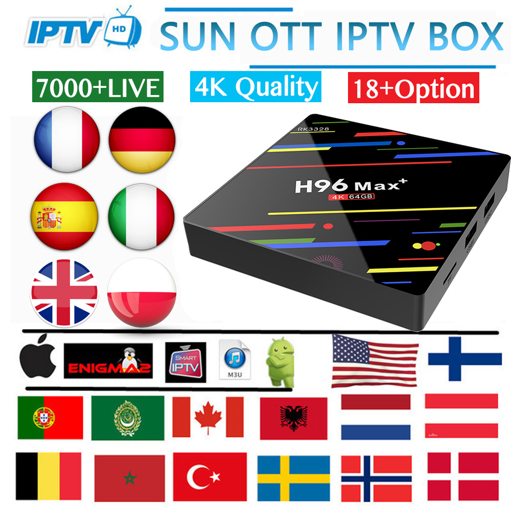 H96 MAX android TV box 9.0 7000Live & 8000vod Ultra HD français espagne italie USA arabe UK suisse Portugal iptv abonnement smart tv-in Décodeurs TV from Electronique    1