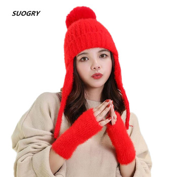 Fashion Winter Hats Women's Fur Hats Knitting Fox Fur Hat Pom Poms Ball Beanie Caps Skullies Cap Female Thick Beanies with Glove winter women s hats beanies colorful fox fur pompons cap girl wool knitted warm hats thick female gorro fur pompoms bonnet touca