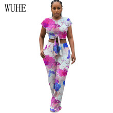 WUHE Two Pieces Sets Wave Point Graffiti Positioning Printing Playsuits Trousers Women Vintage Tie Dyeing Wide Leg Jumpsuits