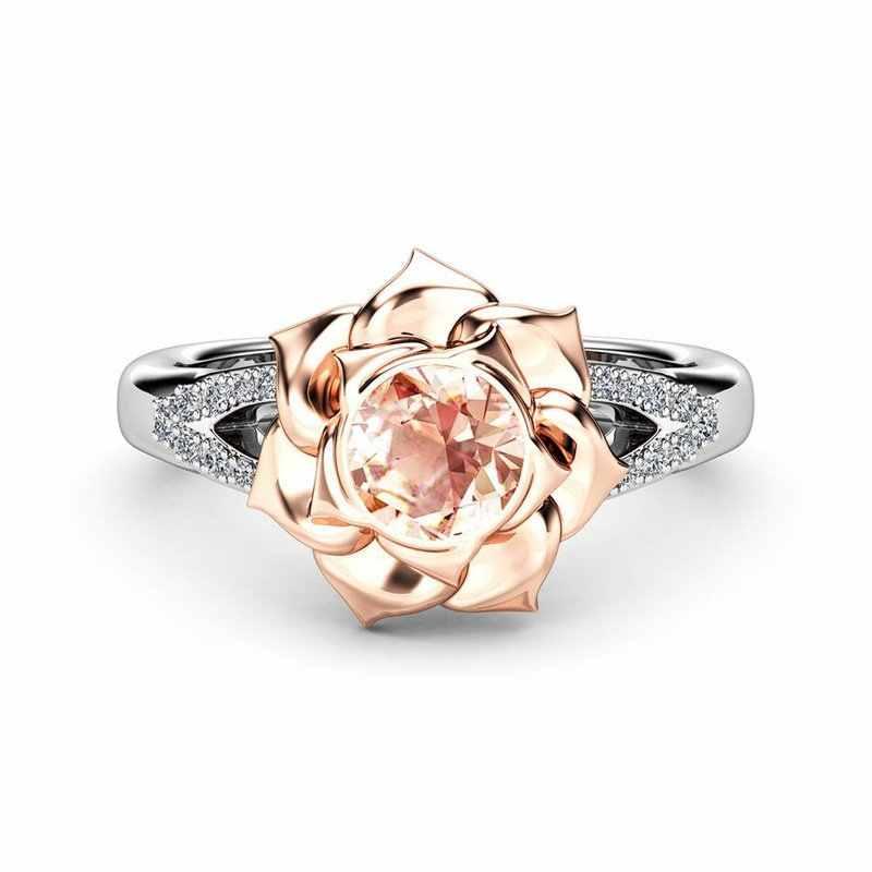 คริสตัลหญิงดอกไม้แชมเปญหมั้นแหวนน่ารัก 925 เงินงานแต่งงานเครื่องประดับสัญญา Zircon แหวนหินสำหรับผู้หญิง