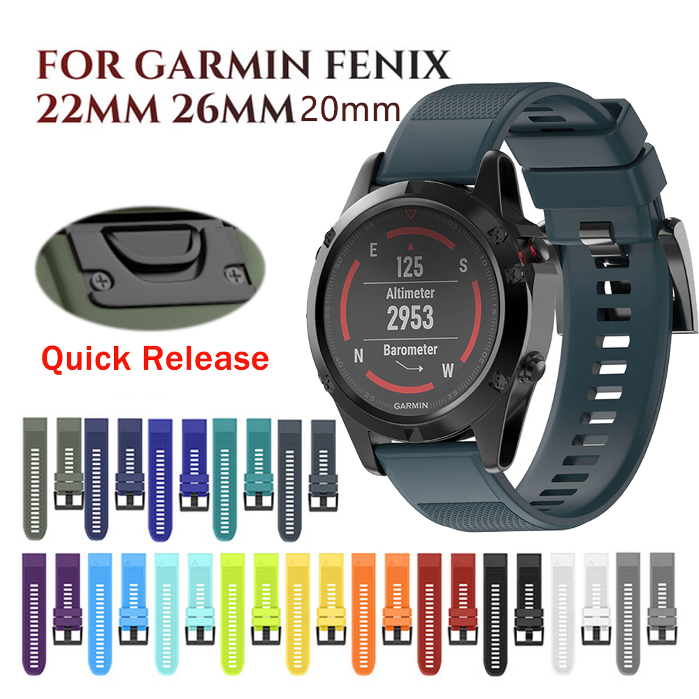 22 26mm Quick Release EasyFit Smart Band For Garmin Fenix 6X 6 Pro 5 5X Plus 3HR Silicone Strap For Forerunner 945 935 Watchband