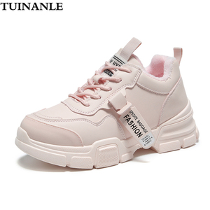 TUINANLE Woman Snow Boots 2020 Winter Shoes Warm Short Plush Fashion Riband Womens Sneakers Zapatillas Mujer Black Sneakers