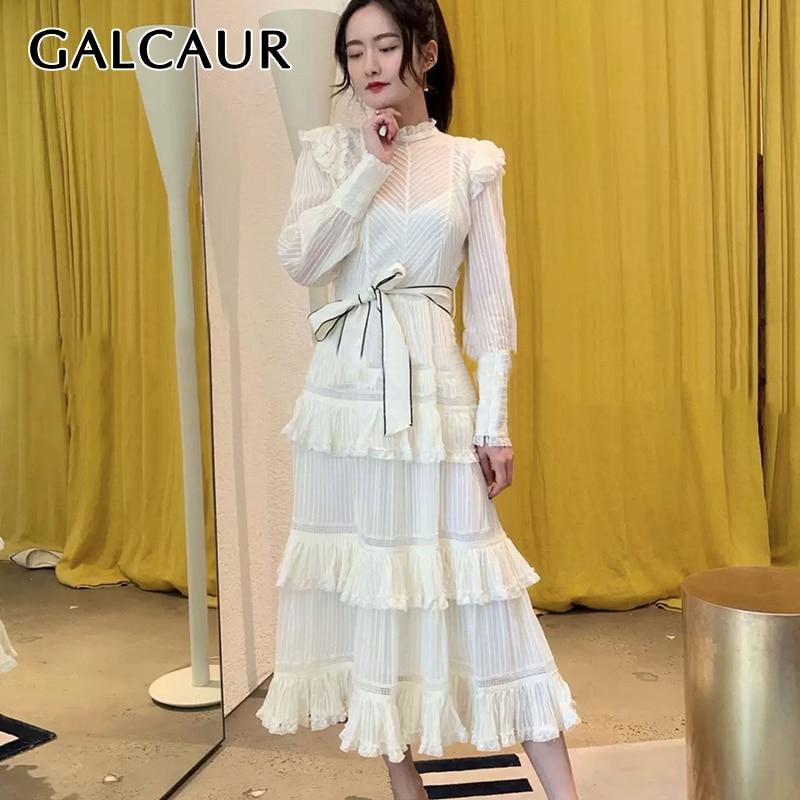 GALCAUR Patchwork ruffle Dress Women stand collar lantern sleeve High Waist lace up bowknot mesh midi Dresses Female 2020 Tide