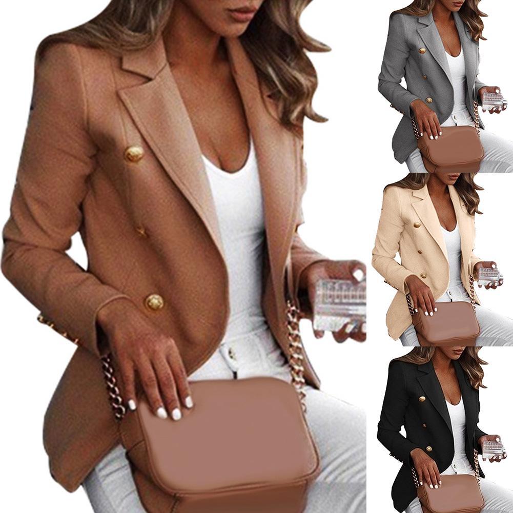 Luxury Coat Women Autumn Winter Bussiness Jacket Plus Size Casual Office Lady Veste Femme Sliming Button Ladies Casaco Feminino